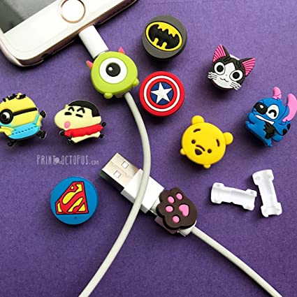 new product 16b23 b31e6 PrintOctopus   Cartoon Cable Protector Set of 10 - Wire Protector for  iPhone   Cord Protector for Apple (10 Pieces)