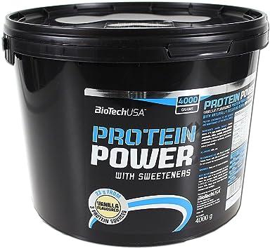 BioTechUSA Protein power Mezcla de Proteínas, Sabor Vainilla - 4000 gr
