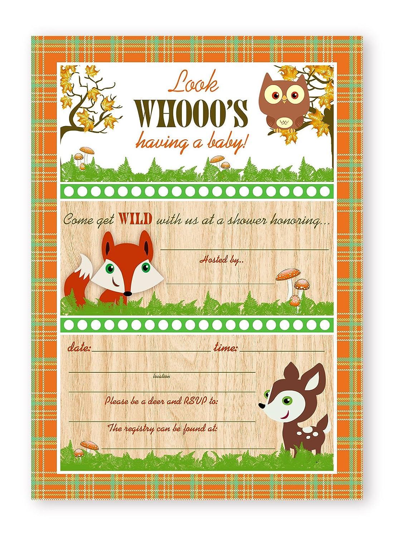 Woodland Critters Shower Invitations 10 Invitations 10 Envelopes