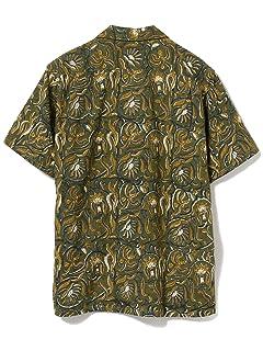Block Print Short Sleeve Camp Shirt 11-01-1075-139: Green