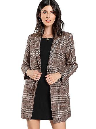 Amazon.com  SheIn Women s Lapel Collar Coat Long Sleeve Plaid Blazer  Outerwear  Clothing e1437dae4c