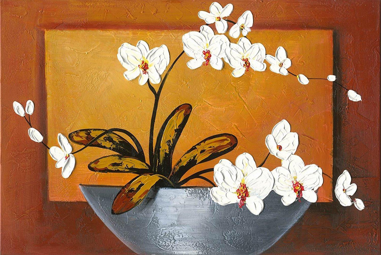 opera darte floreale con orchidea Wieco Art tela 100/% dipinta a mano camera da letto decorazione per la casa pronto per essere appeso in soggiorno