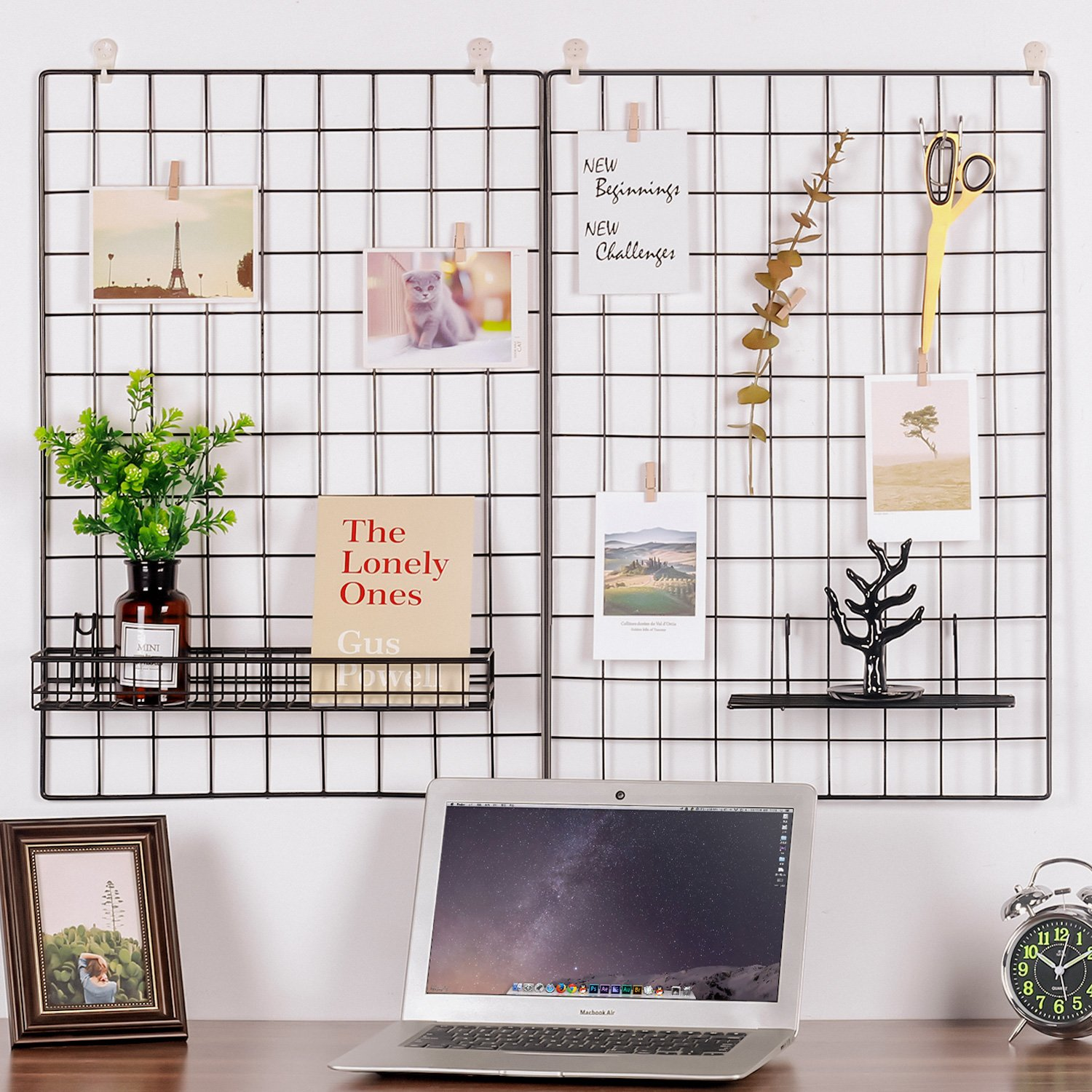 Kufox Painted Wire Wall Grid Panel,  Multifunction Photo Hanging Display and Wall Storage Organizer, Pack of 2, Size 25.6x17.7inch, Black