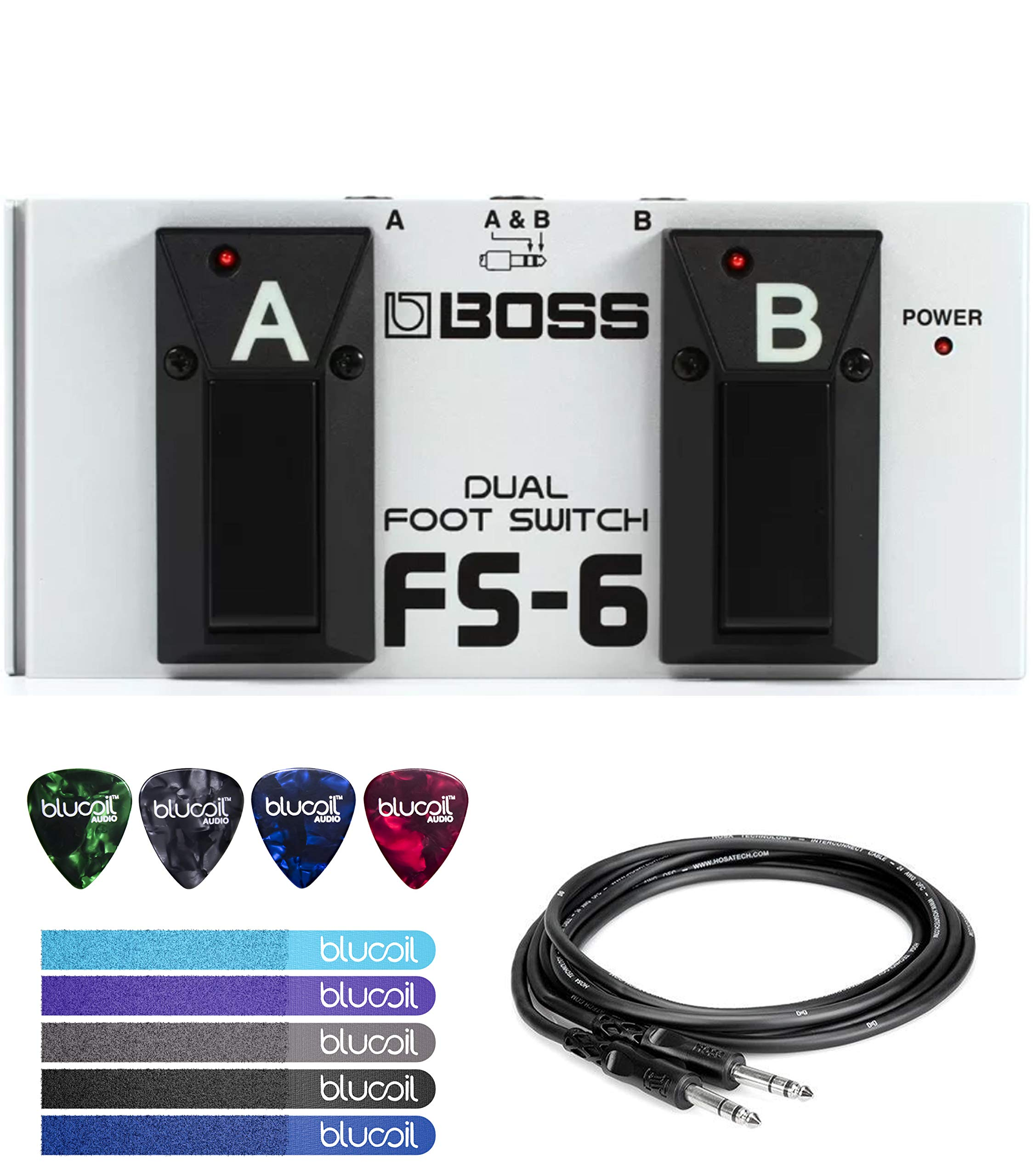 BOSS FS-6 Dual Latch and Momentary Foot Switch Pedal Bundle with 10-FT 1/4-Inch Male to Male Cable, Blucoil 5-Pack of Reusable Cable Ties, and 4-Pack of Celluloid Guitar Picks