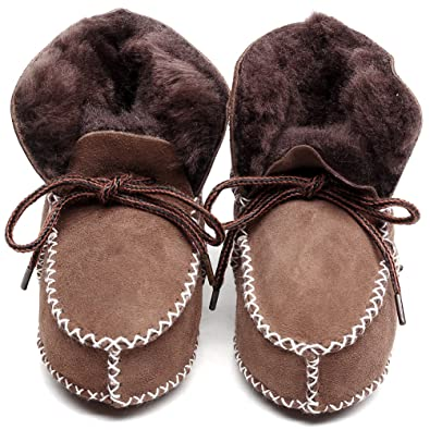 b5a7213379085 HONGTEYA Sheepskin Fleece Baby Bootie- Infants Warm Fur Wool Girls Baby  Plush Boots