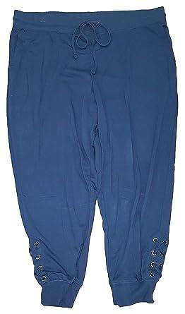 ef9117113e7 Terra   Sky Women s Plus Size Blue Cove Generous Fit Capri Jogger Lace ...