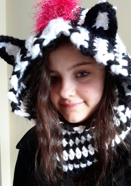 Amazon Hooded Zebra Bear Ear Cowl Crochet Made By Bead Gs On