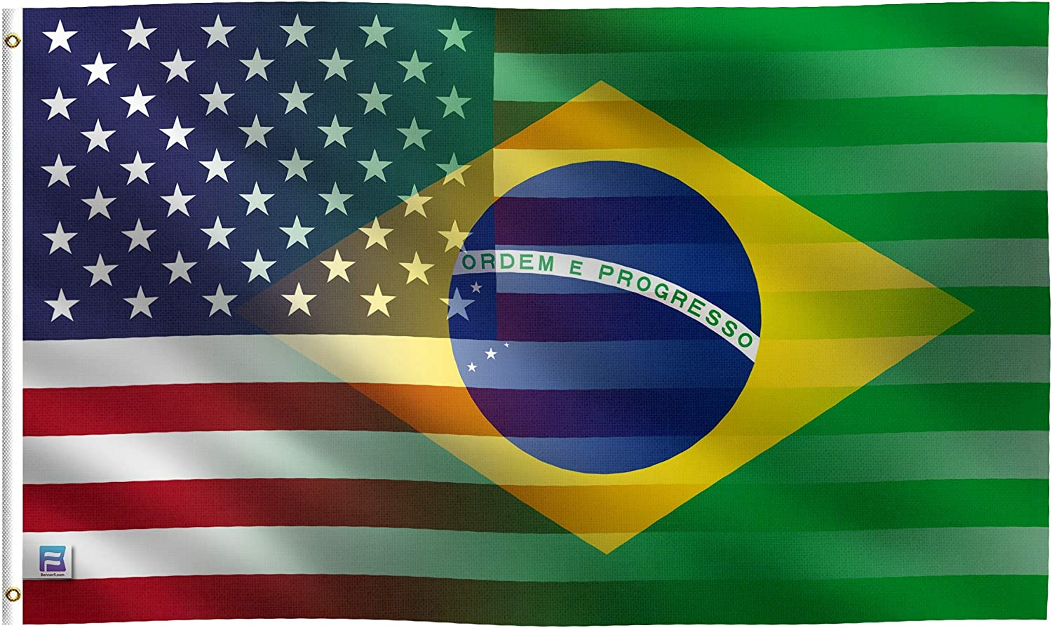 3x5 ft American & Brazil Dual Flag: 100% Polyester Banner, Brass Grommets & Strong Canvas Header, for Use Outdoor or Indoor (Single Sided)