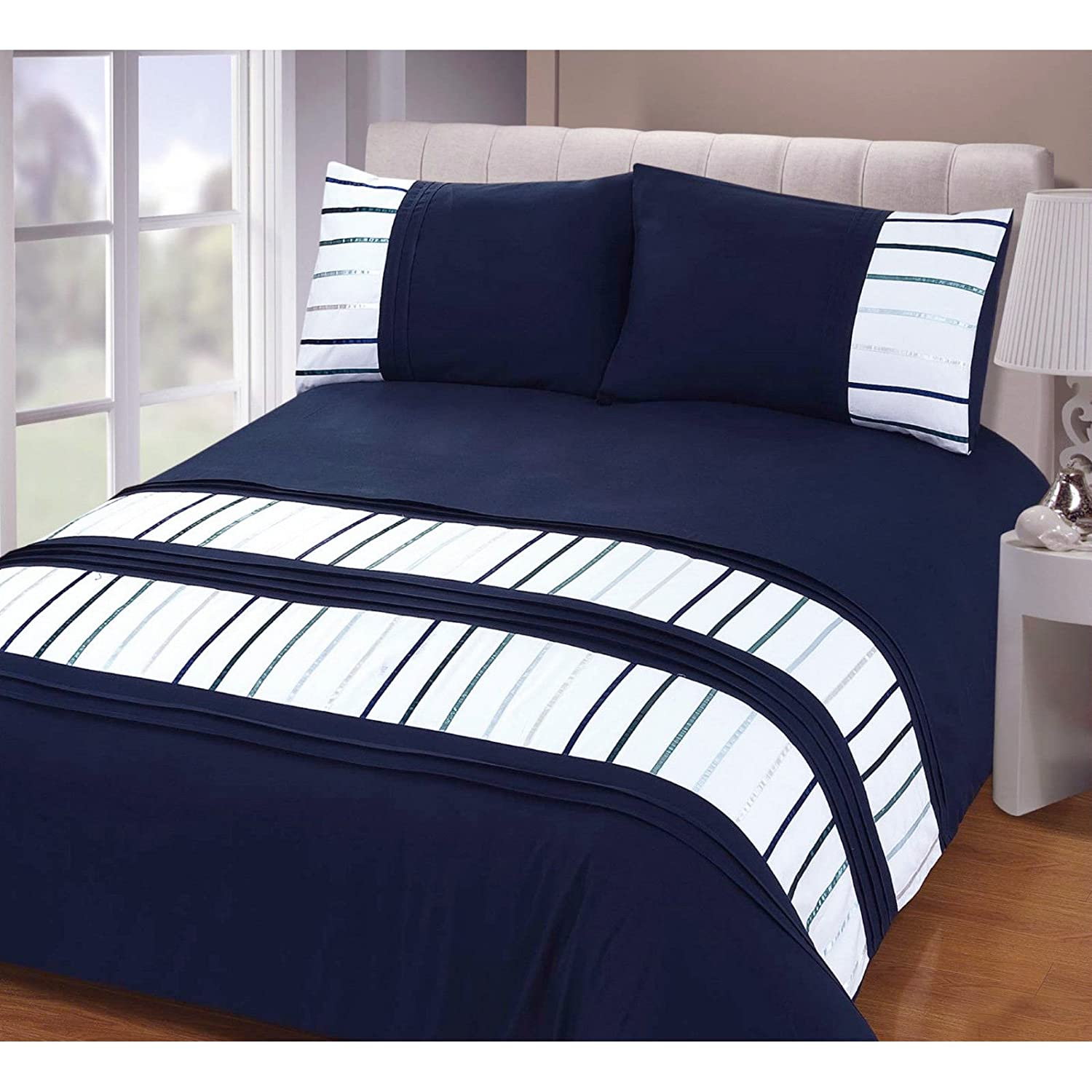 Just Contempo Stripe Duvet Cover Set Double Blue Amazon