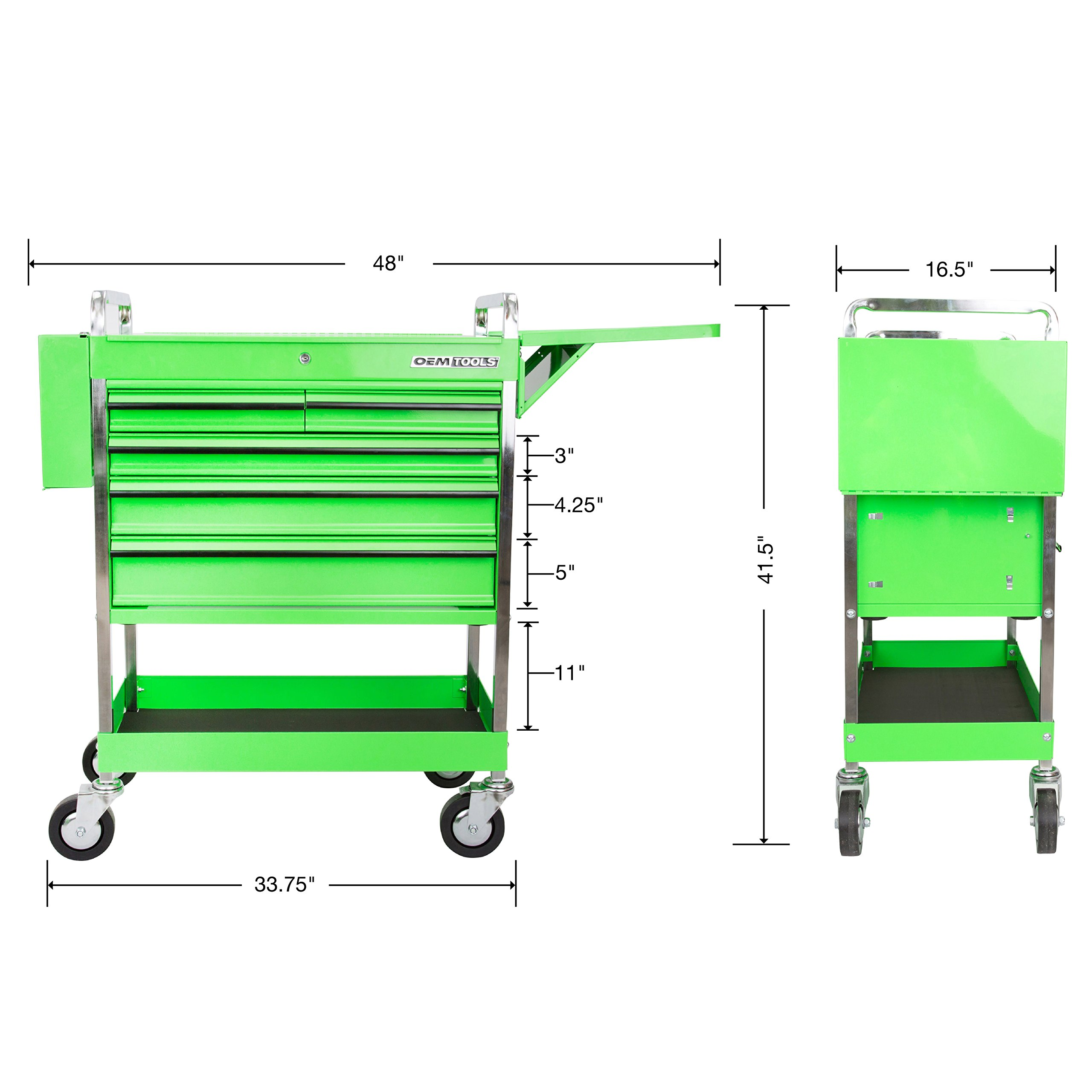 Professional Service Cart - 5 Drawer and 1 Tray (Green) by OEMTOOLS (Image #4)