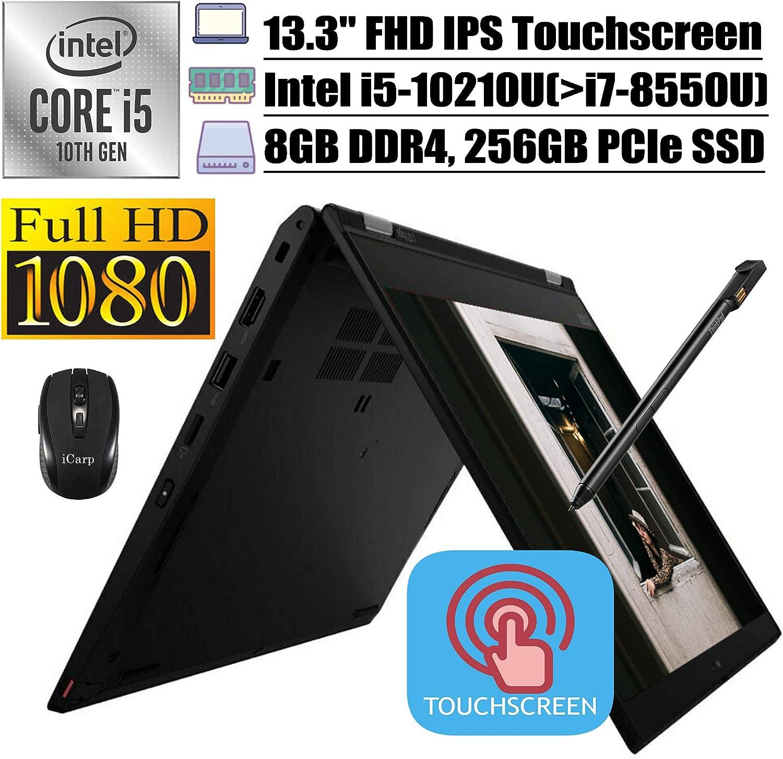 "2020 Flagship Lenovo ThinkPad L13 Yoga 2-in-1 Business Laptop, 13.3"" FHD IPS Touchscreen, 10th Gen Intel 4-Core i5-10210U(>i7-8550U), 8GB DDR4 256GB PCIe SSD, Backlit FP PEN Win + iCarp Wireless Mouse"