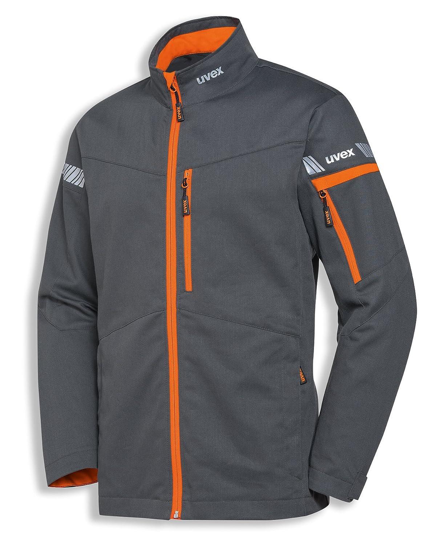 uvex Safety Metal 8939 Chaqueta protectora para trabajo ligero, 60% algodón, Chaqueta de seguridad para hombres y mujeres, también adecuado como Chaqueta de ocio, con reflectores, gris / naranja, talla 98/102 9881122
