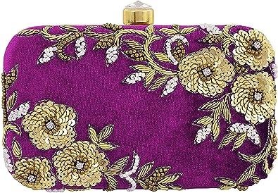 Sharvgun Handicraft Party Wear Hand Embroidered Box Clutch Bag Purse For Women