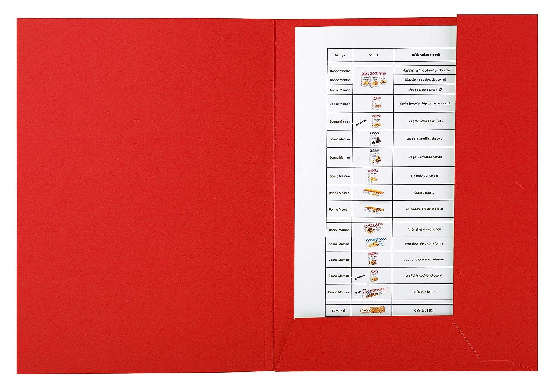 Exacompta 445003E Lot de 50 Chemises 2 rabats 24 x 32 cm pour A4 Rouge