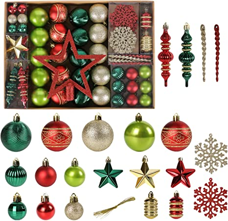 Balls in Red for Christmas Tree by Decorations Christmas Decorations 54 pcs CM
