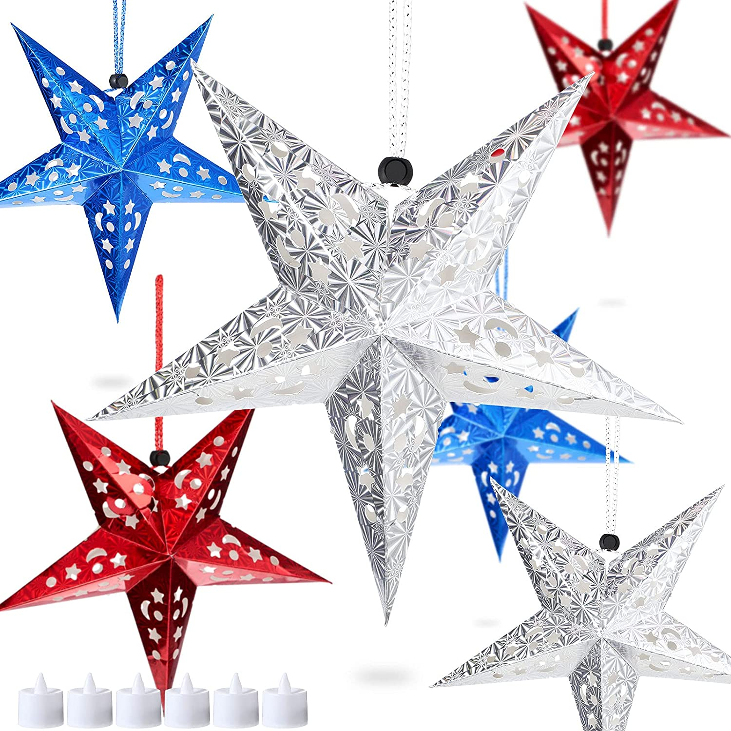 6 Pieces Independence Day Paper Star Shaped Lantern Paper Star Lampshade with LED Lights 4th of July Hanging Star Decorations Patriotic Hanging Ornaments for Holiday Wedding Birthday Indoor Outdoor