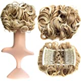 SWACC Short Messy Curly Dish Hair Bun Extension Easy Stretch hair Combs Clip in Ponytail Extension Scrunchie Chignon…