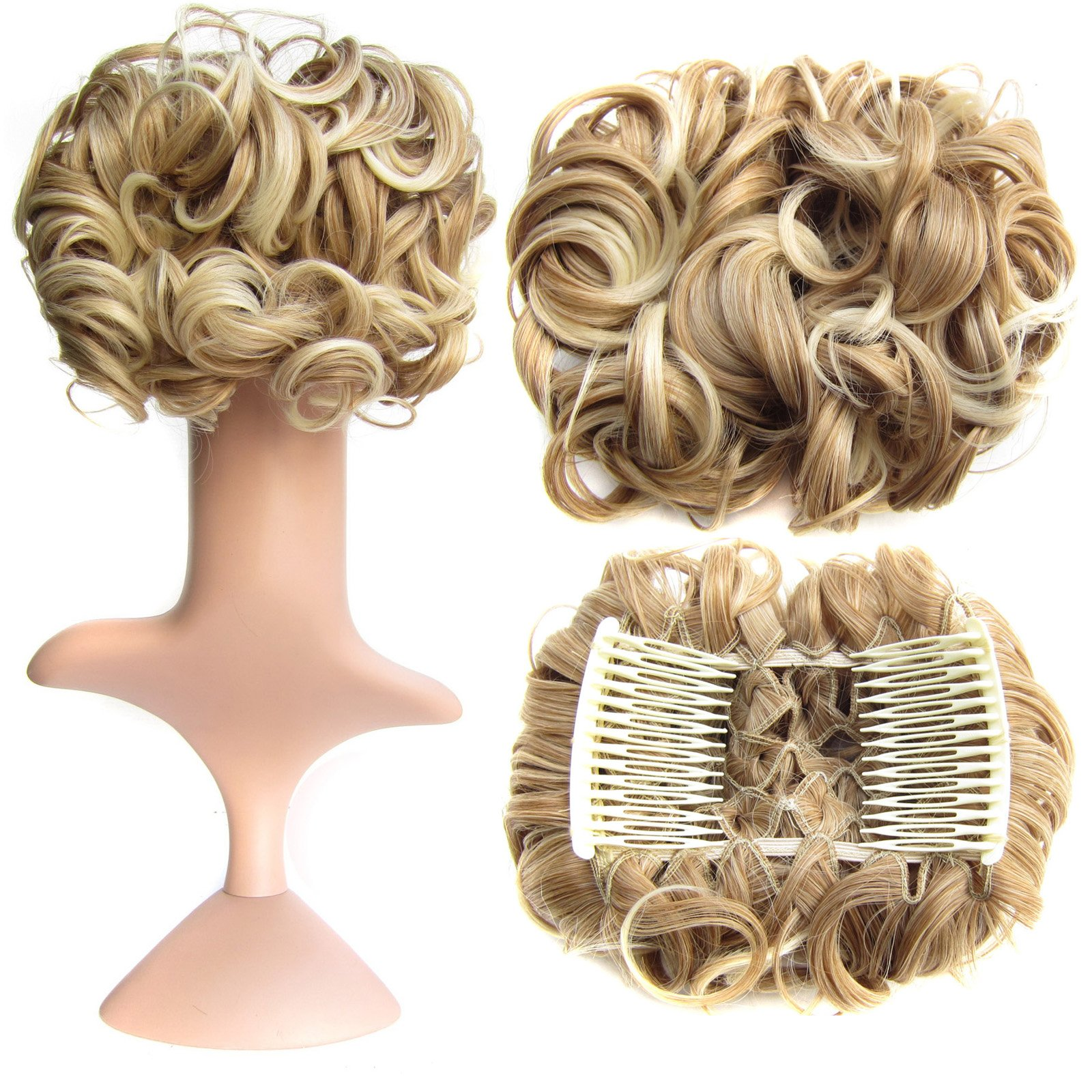 SWACC Short Messy Curly Dish Hair Bun Extension Easy Stretch hair Combs Clip in Ponytail Extension Scrunchie Chignon Tray Ponytail Hairpieces (Blonde Mixed-27T613#) by SWACC