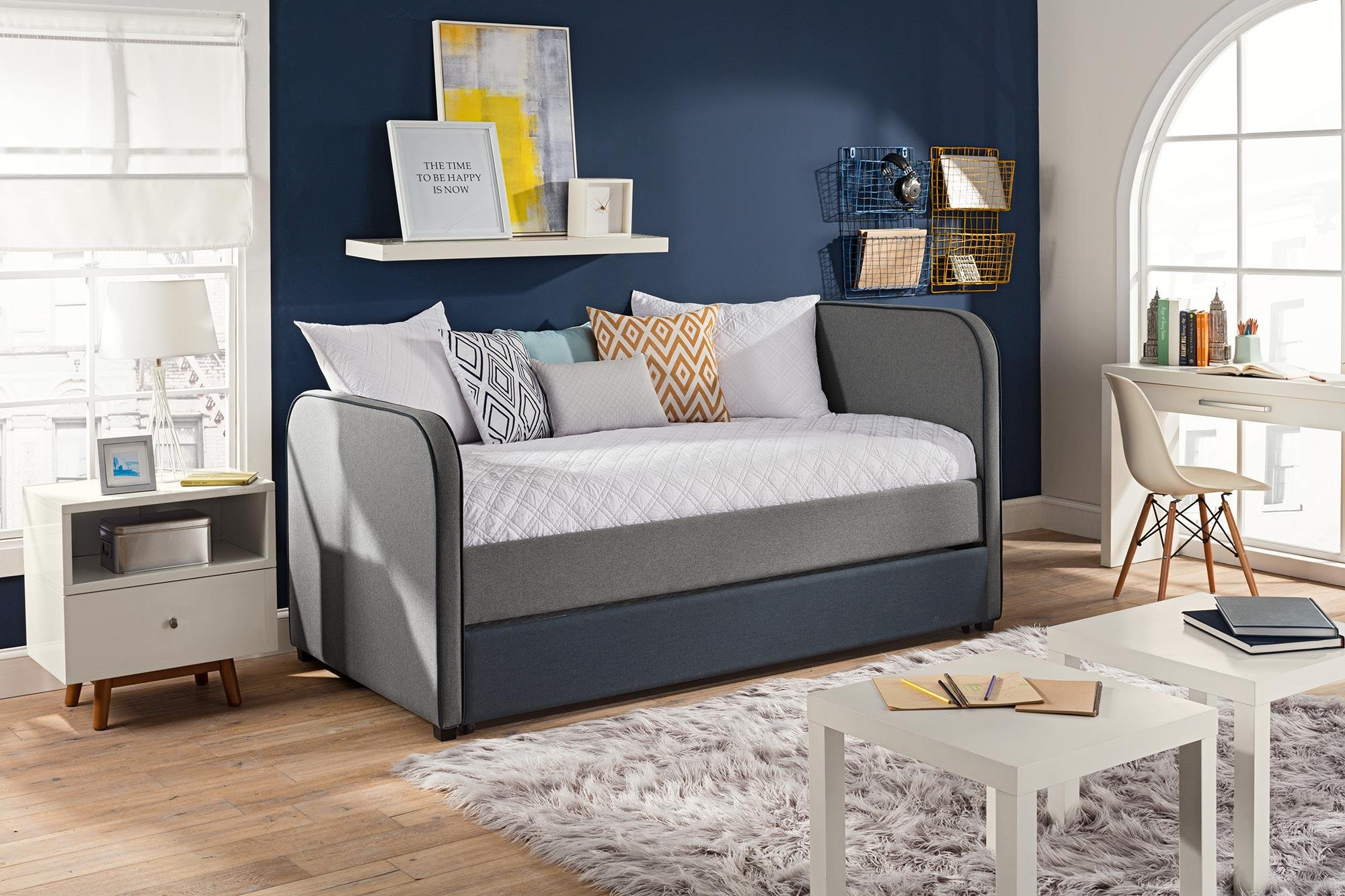 DHP Jesse Twin Kids Bed with Trundle in Gray Linen by DHP (Image #4)