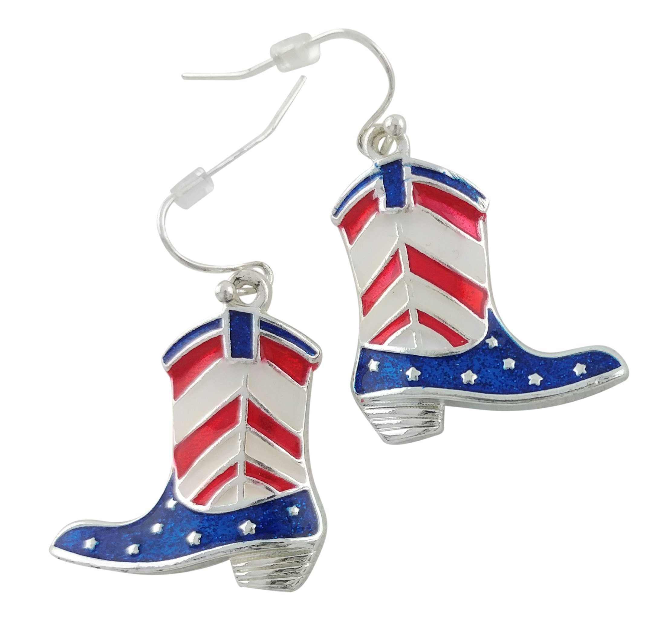 Western Style Patriotic Red, White and Blue Boot Earrings