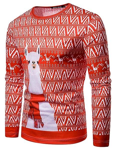 STTLZMC Santa Camisetas Hombre Manga Larga Blusa de Navidad Tops ...