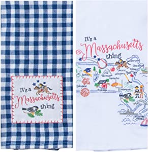 Kay Dee Designs Massachusetts Map Home State & Souvenir Embroidered Dish Towels, Bundle Set of 2 State of Massachusetts Kitchen Towels