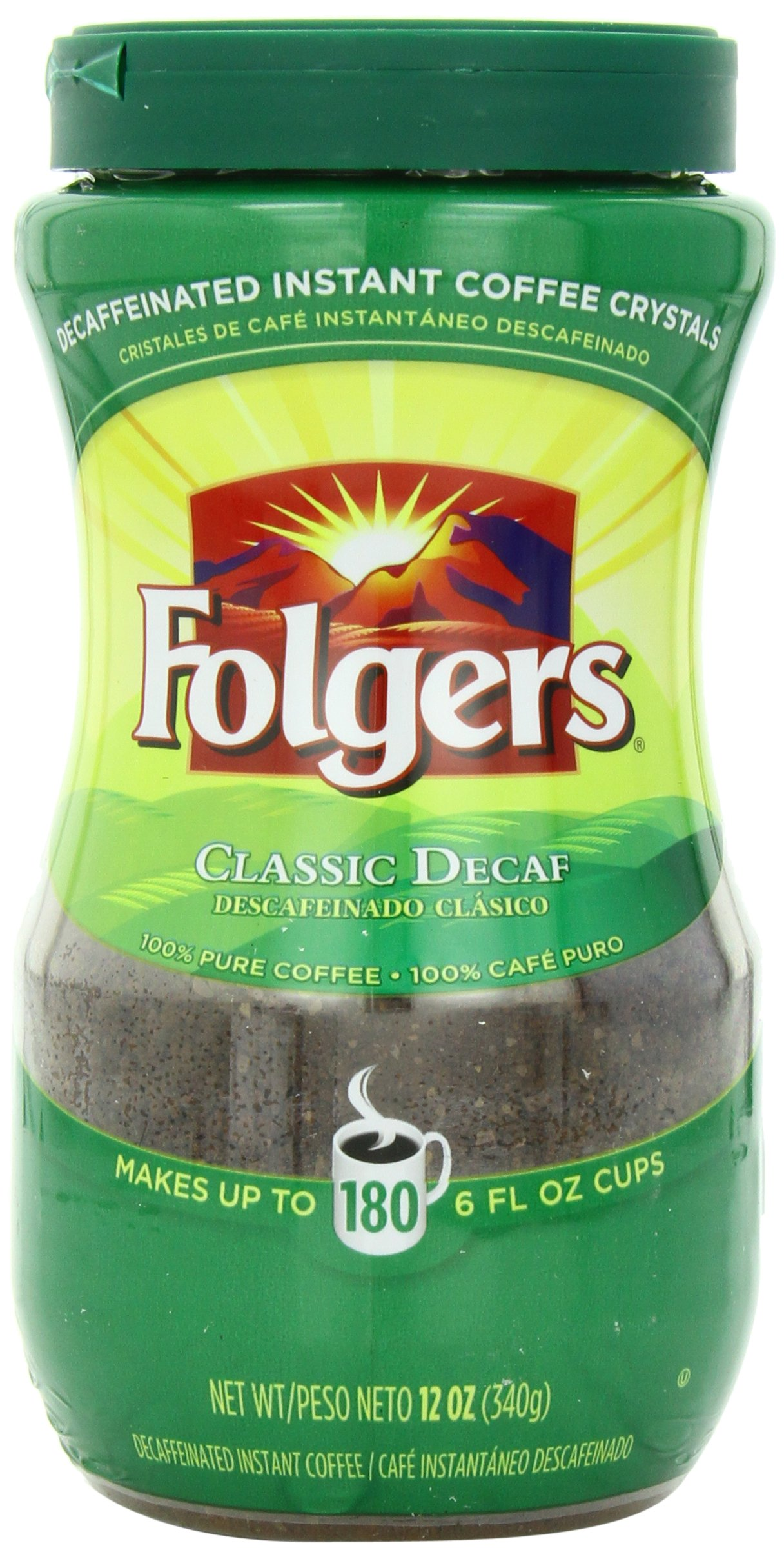 Folgers Classic Decaf Instant Coffee, 12 Ounce (Pack of 12)
