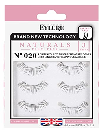 b2aab8648dd Amazon.com : Eylure Naturals False Eyelashes Multipack, Style No. 020,  Reusable, Adhesive Included, 3 Pair : Beauty