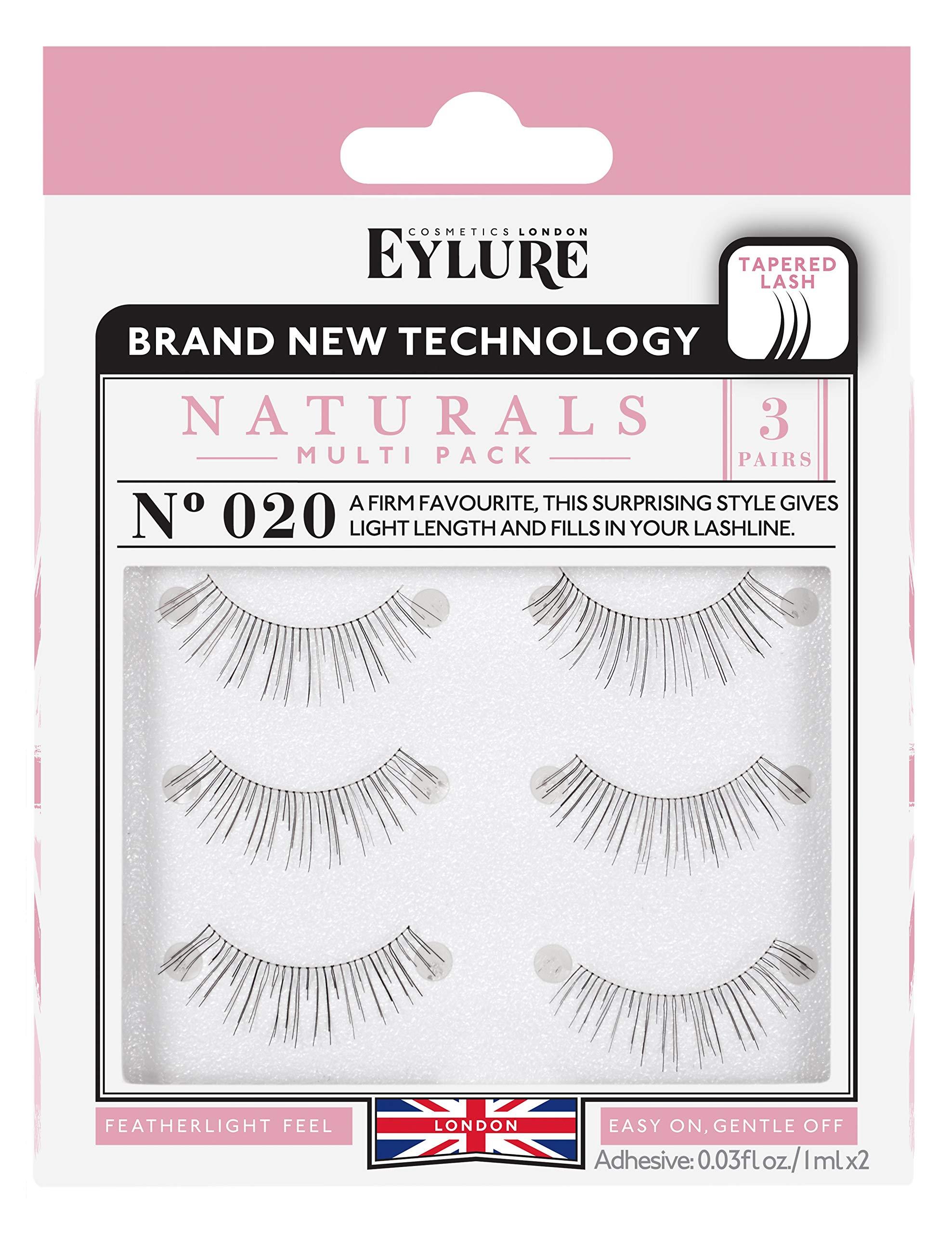 1e49588e218 Eylure Naturals False Eyelashes Multipack, Style No. 020, Reusable,  Adhesive Included,