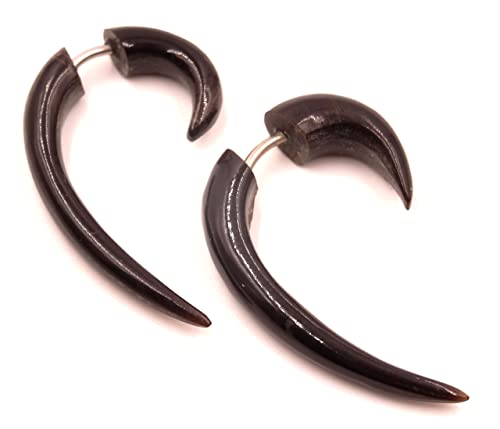 Falso Dilatador cuerno hueso Pendientes Negro Pendientes Piercing ...