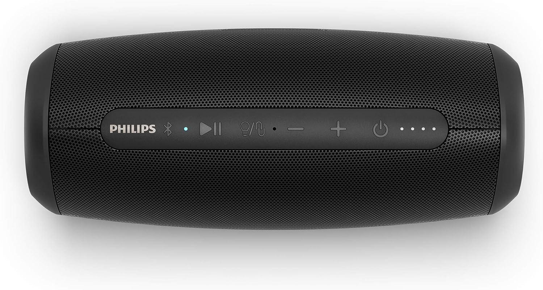 Philips S5305/00 Altavoz Bluetooth, Altavoz Inalámbrico con micrófono Integrado (Bluetooth 5.0, Impermeable, 12 Horas de autonomía, Luces LED Multicolor) - Color Negro, Modelo de 2020/2021
