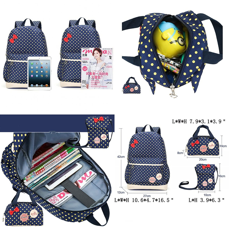 moonwind polka dots bow 3pcs kids book bag school