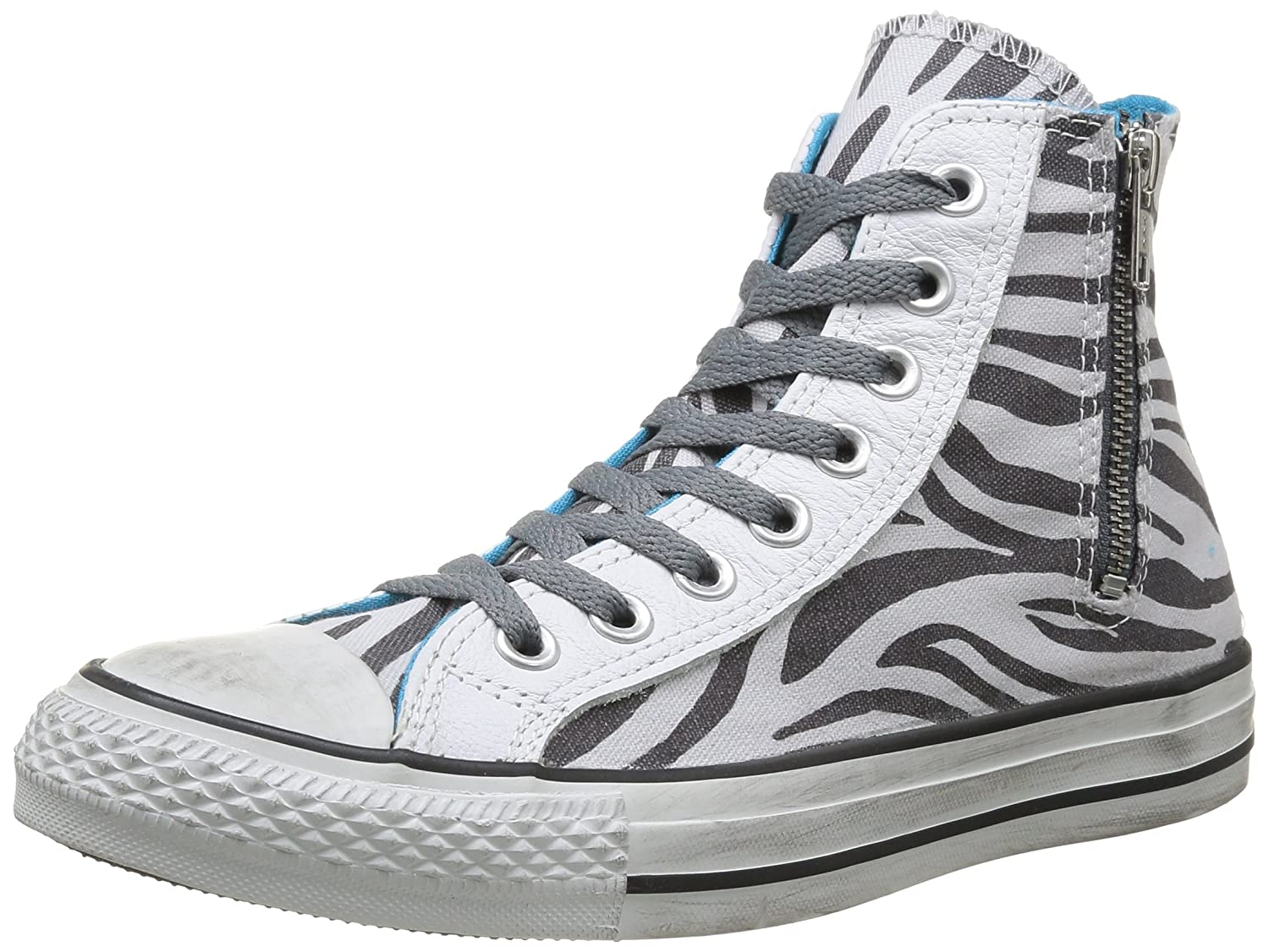 Converse All Star Hi Side Zip Canvas - Botines Mujer36 EU|Oyster Gray/Castlerock Zebra D