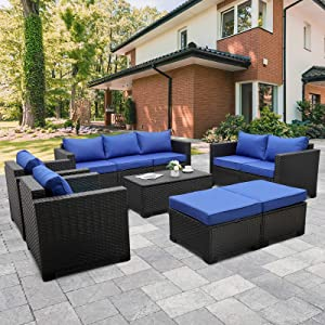 Rattaner Patio PE Wicker Furniture Set 7 Pieces Outdoor Black Rattan Conversation Seat Couch Sofa Chair Set with Royal Blue Cushion and Furniture Covers
