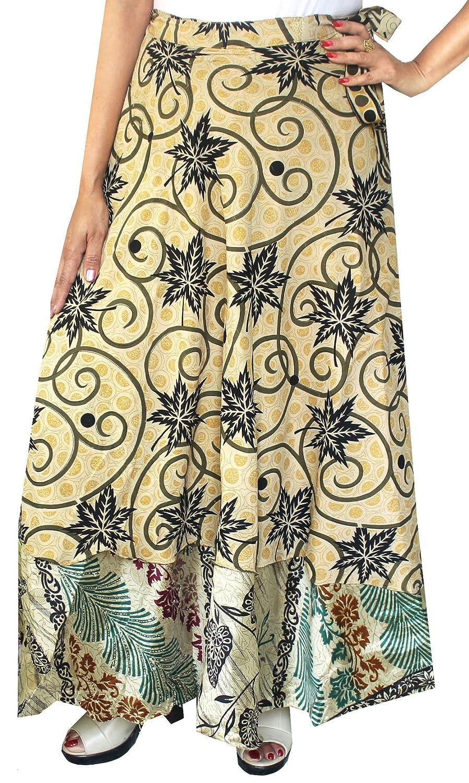 Maple Clothing Two Layers Women's Indian Sari Magic Wrap Around Long Skirt mpl-magicskt36-1p