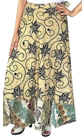 Skirts Womens Silk Wrap Around Skirt Reversible Hippie Hobo Skirt Size 36 Inch Long Women's Clothing