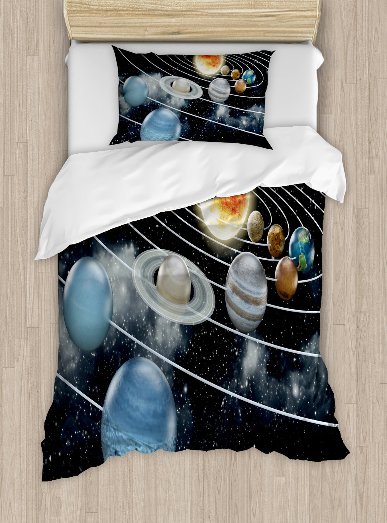 Ambesonne Galaxy Duvet Cover Set Twin Size, Solar System All Eight Planets and The Sun Pluto Jupiter Mars Venus Science Fiction, Decorative 2 Piece Bedding Set with 1 Pillow Sham, Black Grey