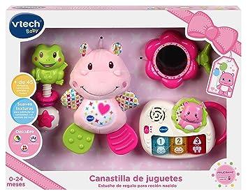 VTech - Canastilla de juguetes, estuche de regalo para bebé recién nacido que incluye peluche mordedor, sonajero, piano interactivo y espejo de ...