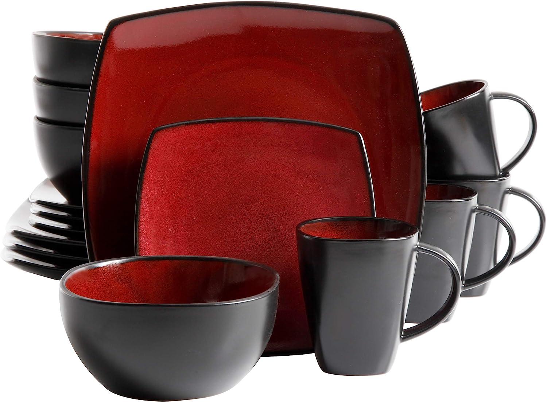 Gibson Soho Lounge 16-Piece Square Reactive Glaze Dinnerware Set, Red: Kitchen & Dining