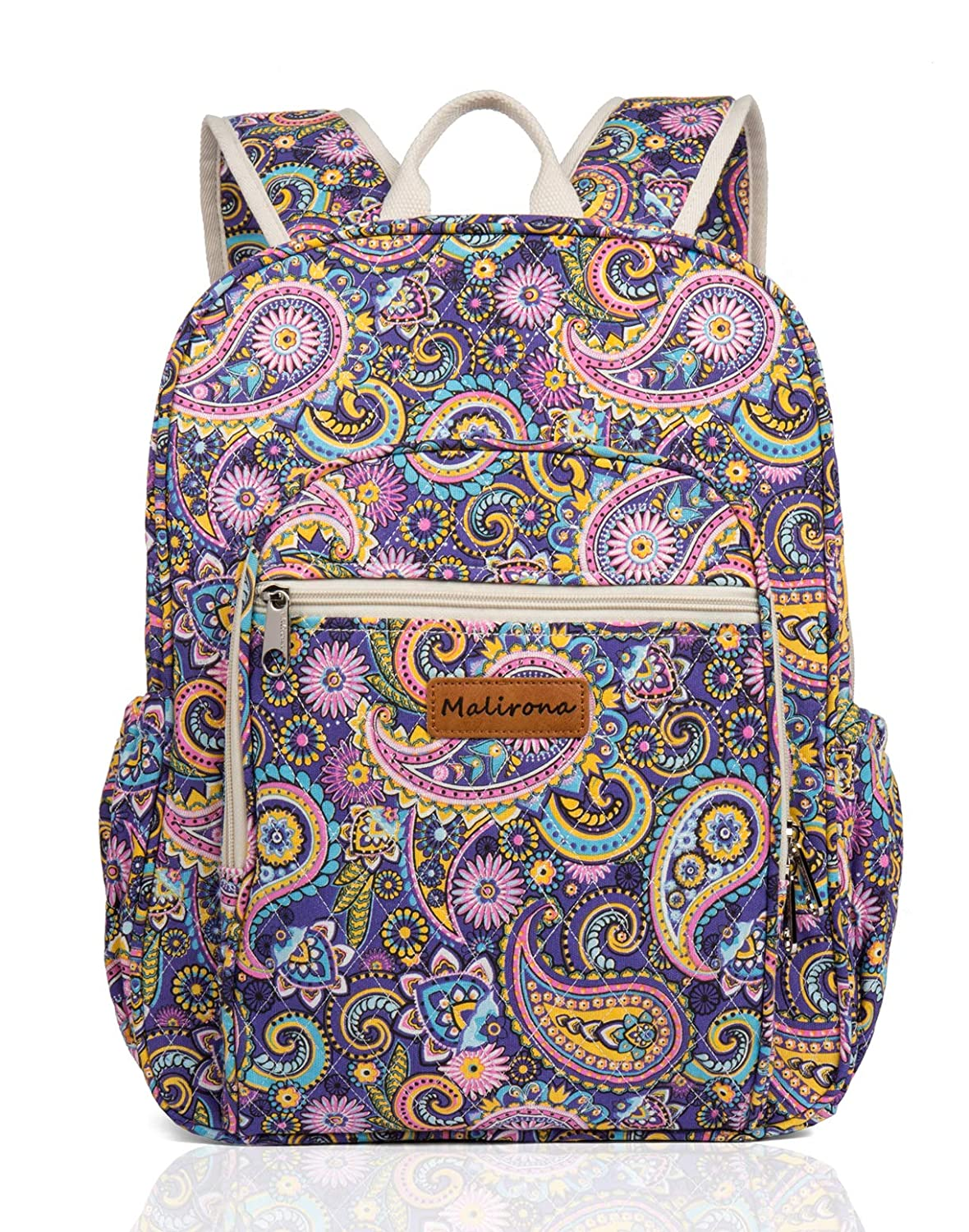 Malirona Canvas Campus Laptop Daypacks Backpack School Bags For Women And Men – Laptop Carrying, Trolley Sleeve, 7 Colors Purple Flower