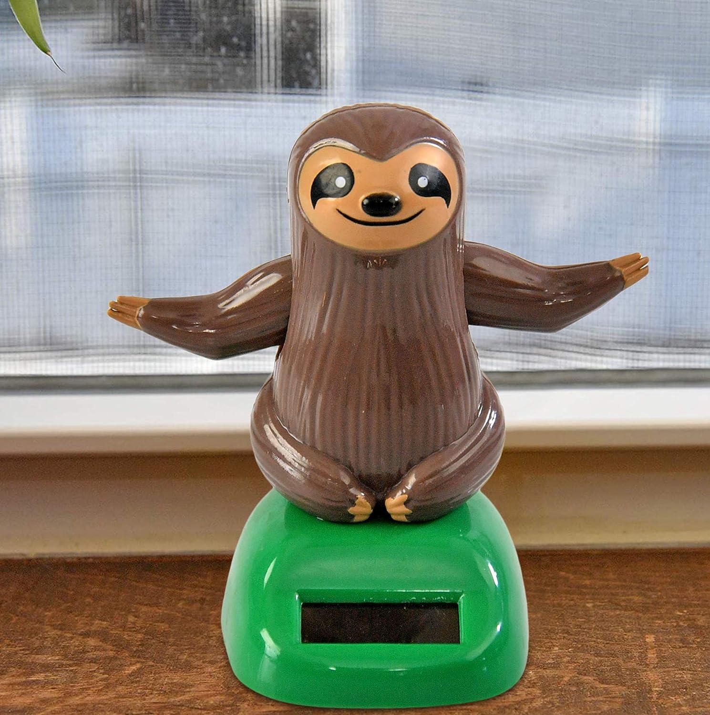 Windowsill or Car Dashboard Decoration Home-X Brown Sloth Solar Dancer Figure Solar-Powered Dancing Office Desk Decor