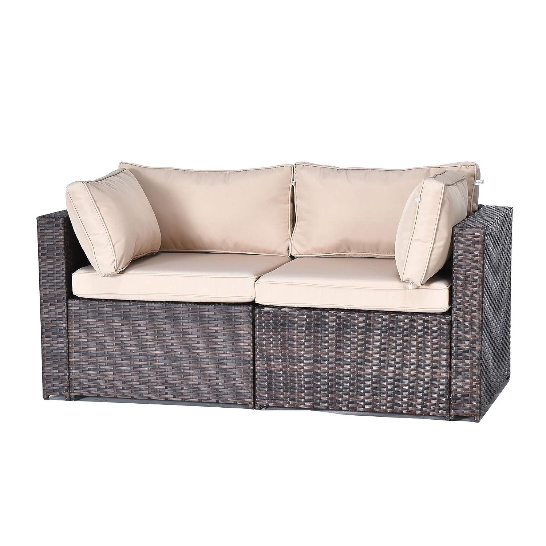 Gotland 5-Piece Outdoor PE Rattan Sectional Sofa- Patio Garden Wicker Furniture Set,Brown