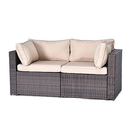 Gotland 2-Piece Outdoor PE Rattan Sectional Sofa- Patio Garden Wicker  Furniture Set,Brown(2 Corner Sofas)