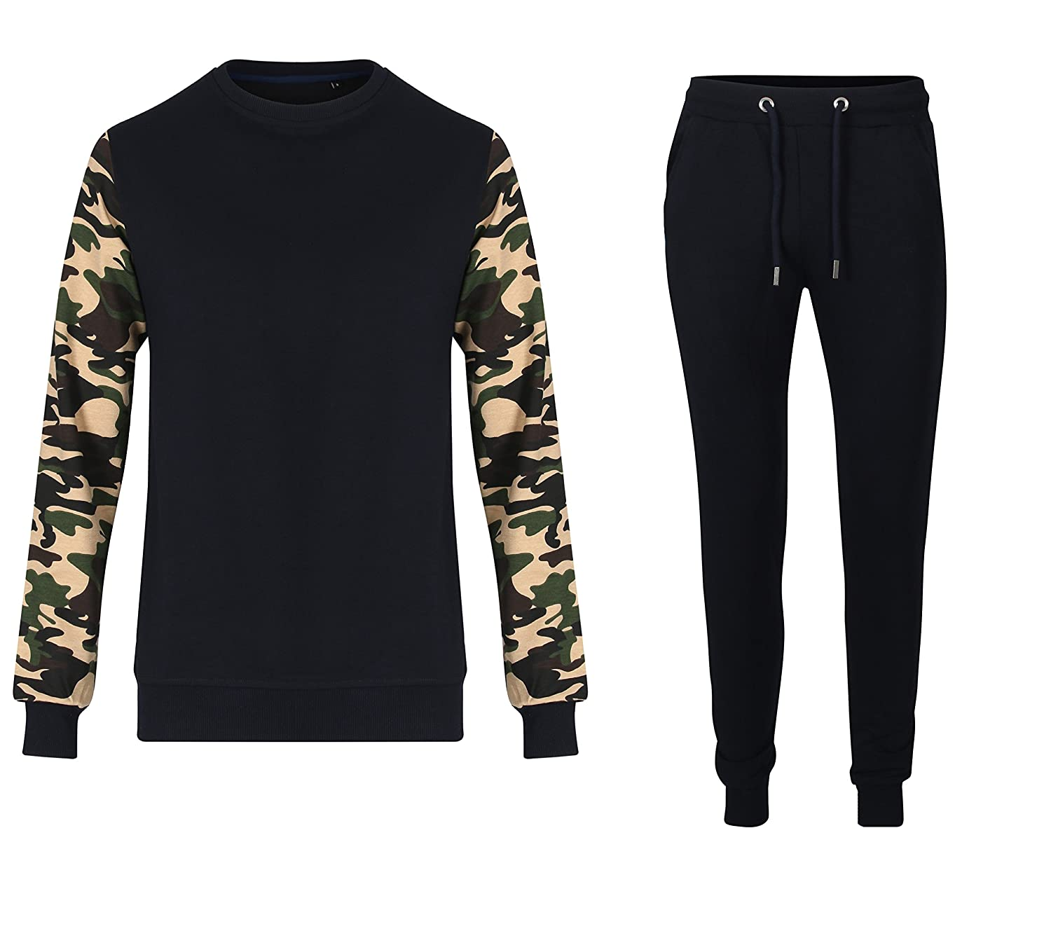 Fabrica Fashion Mens Lycra Fleece Summer Slimfit Tracksuit with Camouflage Sleeves