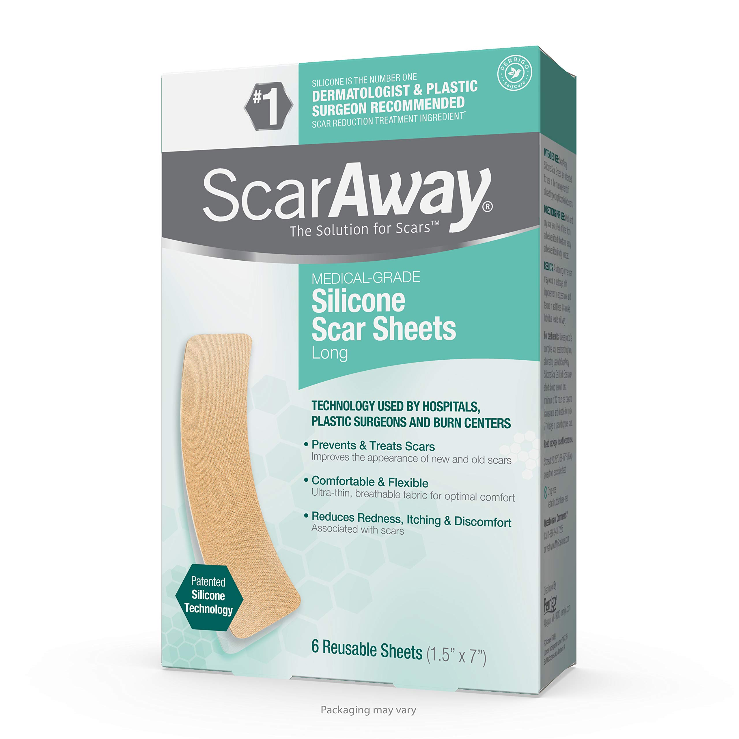 "ScarAway Advanced Skincare Long Silicone Scar Sheets for Hypertrophic Scars and Keloids Caused by Surgery, Injury, Burns, C-Section and More, 1.5"" x 7"", 6 Sheets"