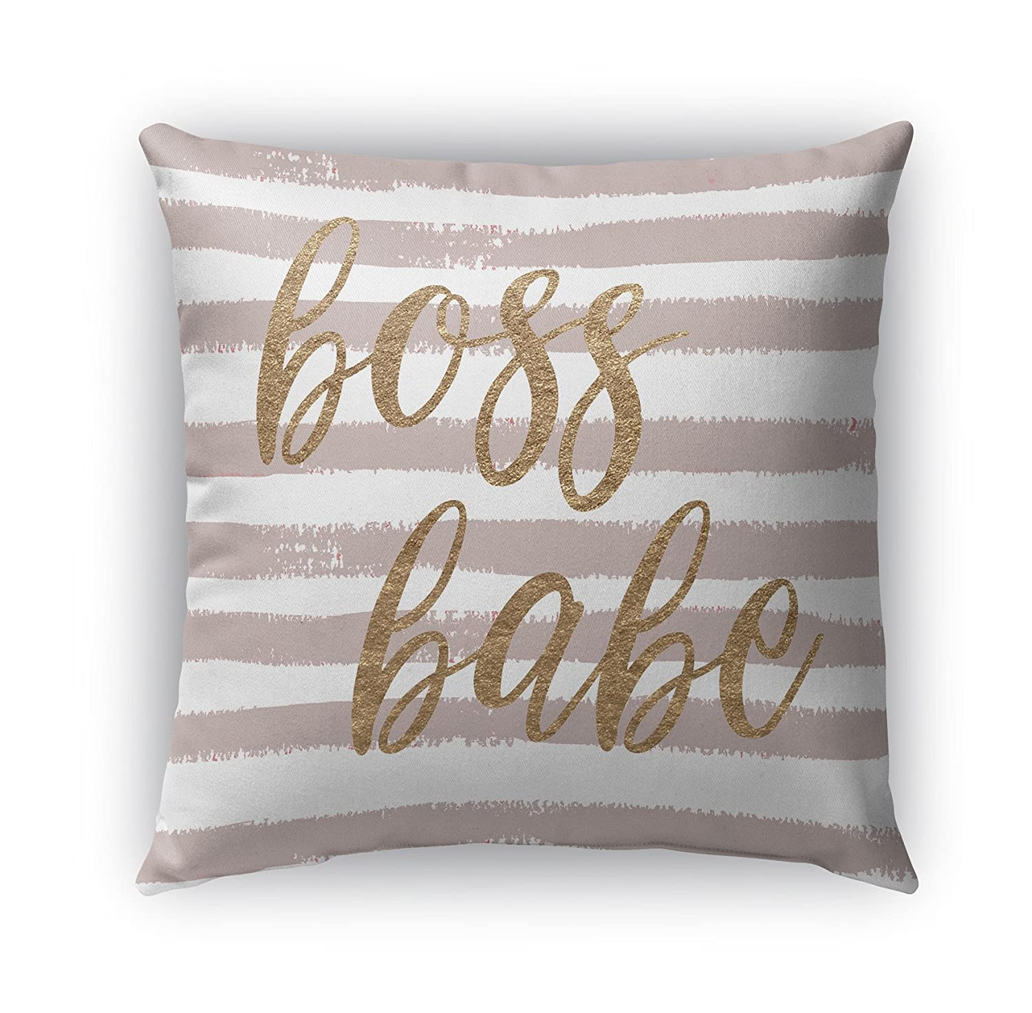 Size: 16X16X6 - KAVKA Designs Boss Babe Indoor-Outdoor Pillow, - Inspo Collection RVIAVC1690OP16 Pink//White//Rose