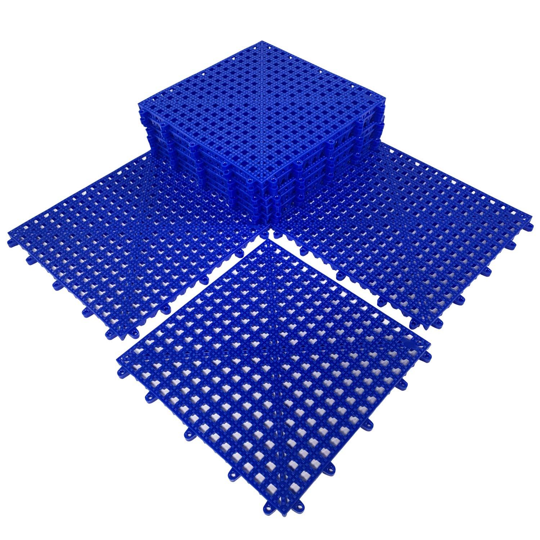 HYSA MAT Interlocking Non-Slip Tiles,12.5 x 12.5 inch PVC Flooring Deck Drainage Mats for Basement Swimming Pool Bathroom Boat Wet-Area,Blue,12-Pack