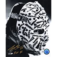 $32 » Gerry Cheevers Signed Bruins Mask Close Up B&W 8x10 Photo w/HOF'85