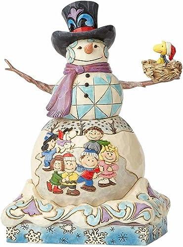 Enesco Jim Shore Snowman with Peanuts Scene Stone Resin, 9 Figurine