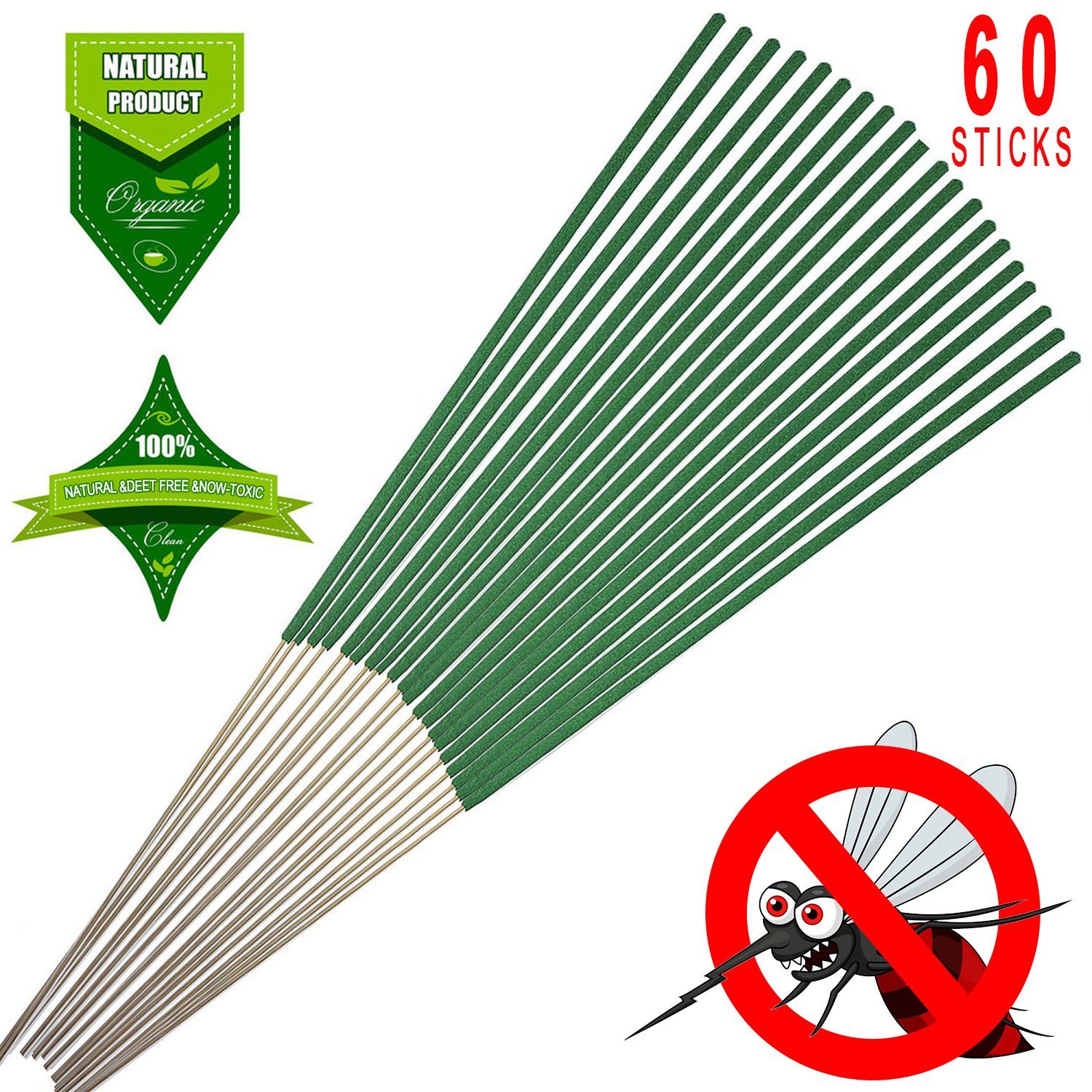 KKPOT Mosquito Repellent Sticks, 100% Natural Citronella Lemongrass Outdoor Bug Insect Incense Sticks (Pack of 60) …